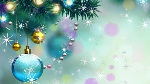 Slavnostní vánoční pozadí s míčky a sněhové koule