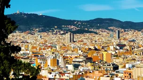 colorful panorama of Barcelona, view from Montjuic
