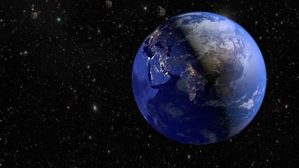 Bir asteroit dünyaya uçar. 3d render