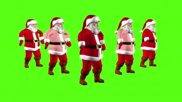 Öt vidám Santa záradékokat egy piros öltöny táncolnak. 3D renderelés zöld képernyőn