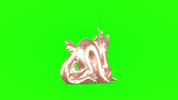 Színes sárkány szobor zöld háttérrel. 3D renderelés