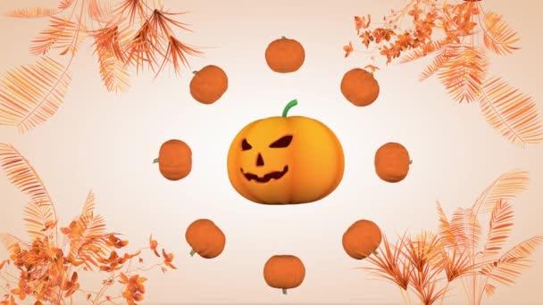 Halloween-Urlaubskonzept. Hintergrund sind Kürbisse. 3D-Rendering
