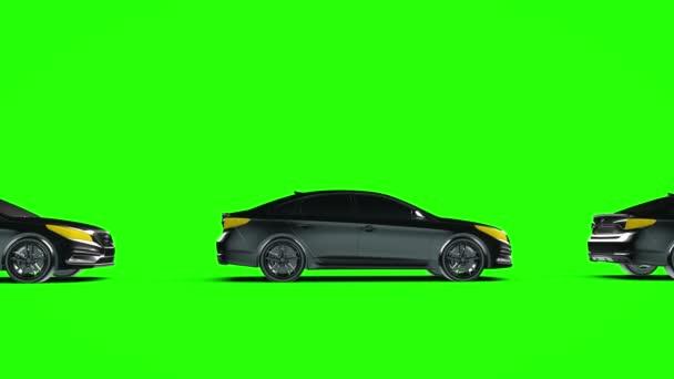 Individualita, dopravník osobních automobilů na zelené obrazovce. 3D vykreslování