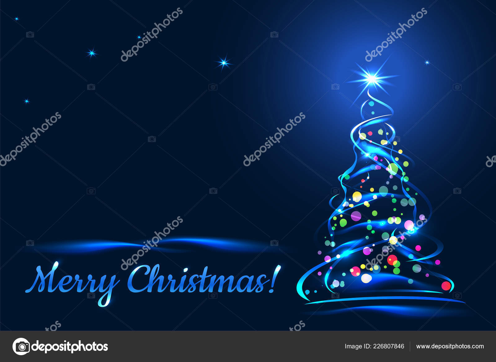 Merry Christmas Greeting Card Xmas Tree Blue Background