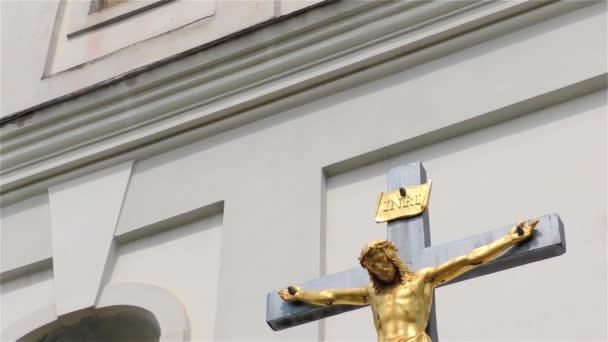 Golden Jesus Christ on The Cross, Small Church, Crucifix