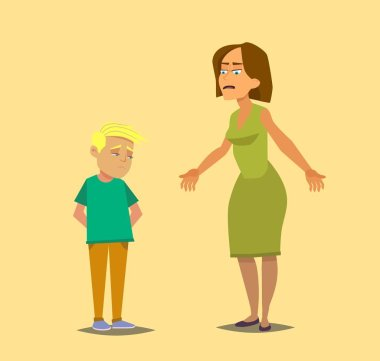 Angry mother scolds the guilty son. Vector illustration in cartoon style.
