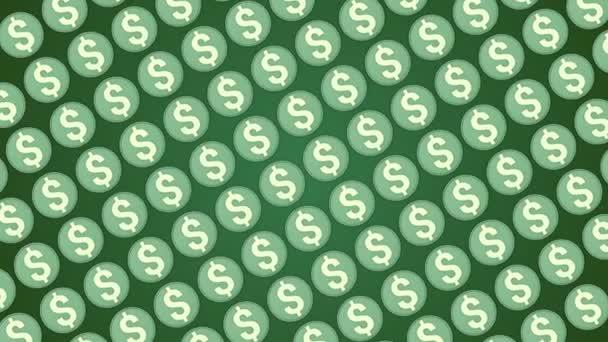 Dolar americký peníze zelené pozadí mince dopravní úhlopříčka