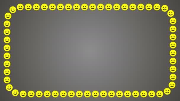 Sorriso felice fondo grigio cornice rettangolare
