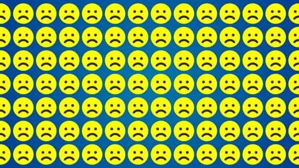 Sad smile emotion blue background traffic horisontal