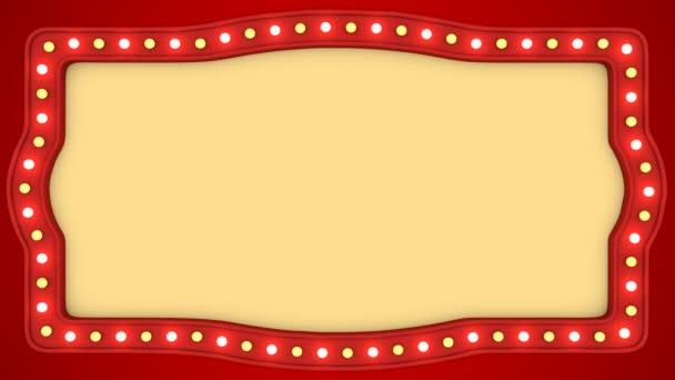 Blikající žárovky červené vintage rám hranice obrazovky znamení kasino pozadí smyčky
