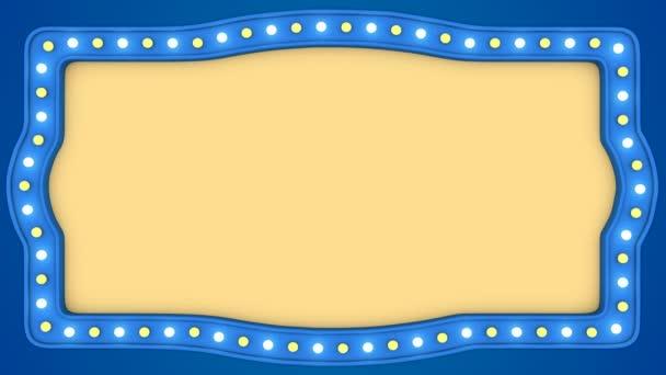 Flashing light bulbs blue vintage frame border screen sign casino background loop