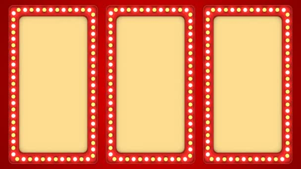 Triple screens flashing light bulbs red frame border sign surface casino background loop