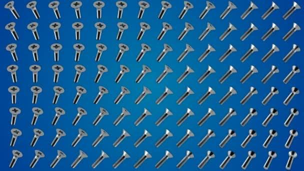 Kovové šrouby šrouby rotace vzor modré pozadí smyčky