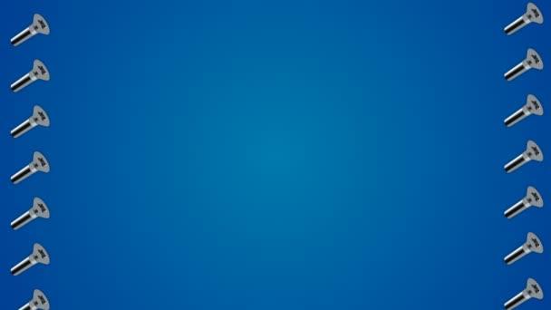 Kovové šrouby šrouby vzor modré ohraničení rámečku pozadí smyčka