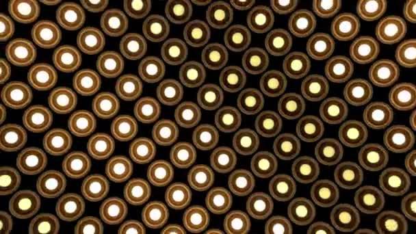 Světla blikají nástěnné kulaté žárovky vzor střídání fáze dřeva pozadí vj smyčka