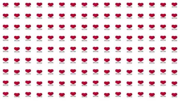 Romantický izometrické pozadí červené srdce vertikální vlny pohybu