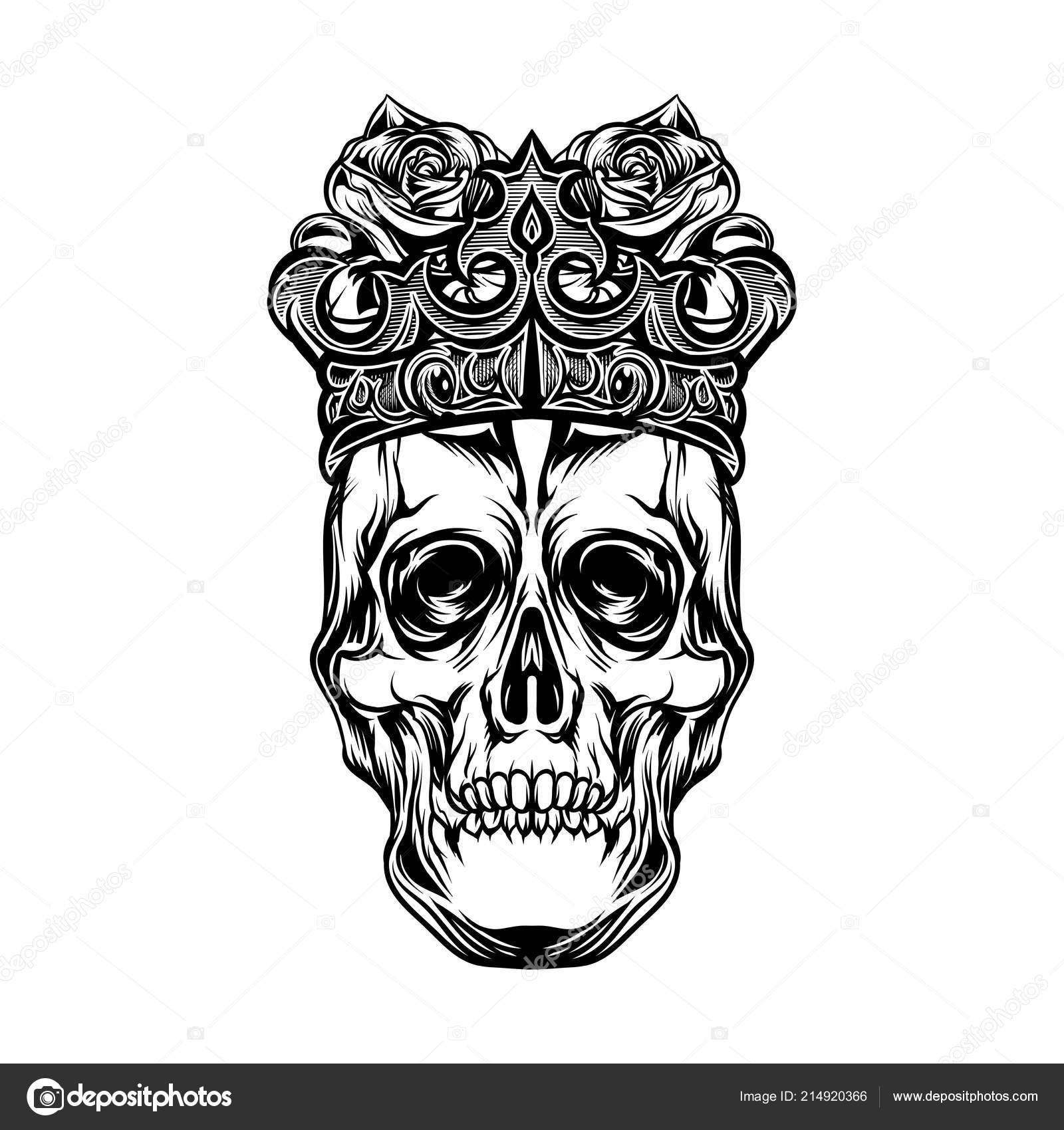 Rey Calavera Corona Con Rosa Arte Objeto Aislado Conveniente