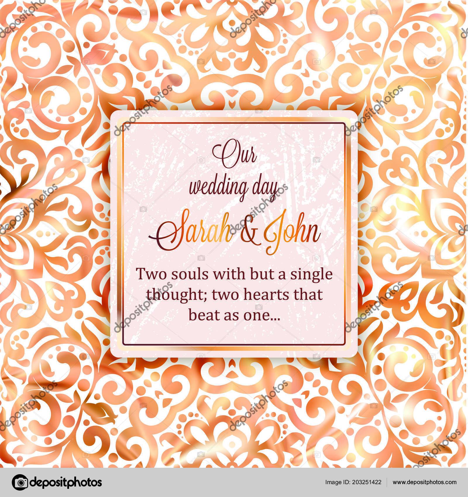 Diseño Plantilla Tarjeta Invitación Boda Oro Rose Con Patrón