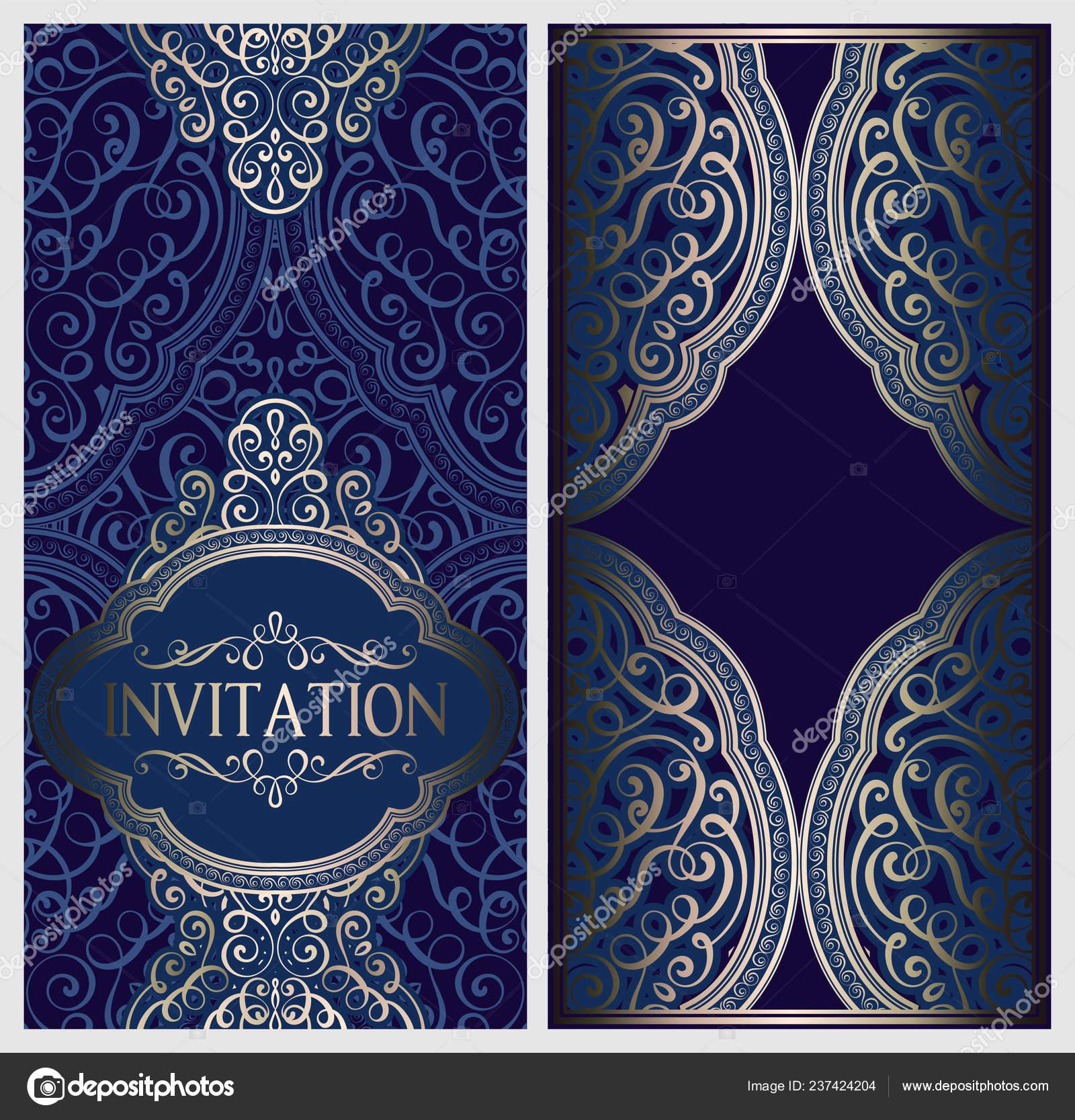 Wedding Invitation Card Gold Shiny Eastern Baroque Rich