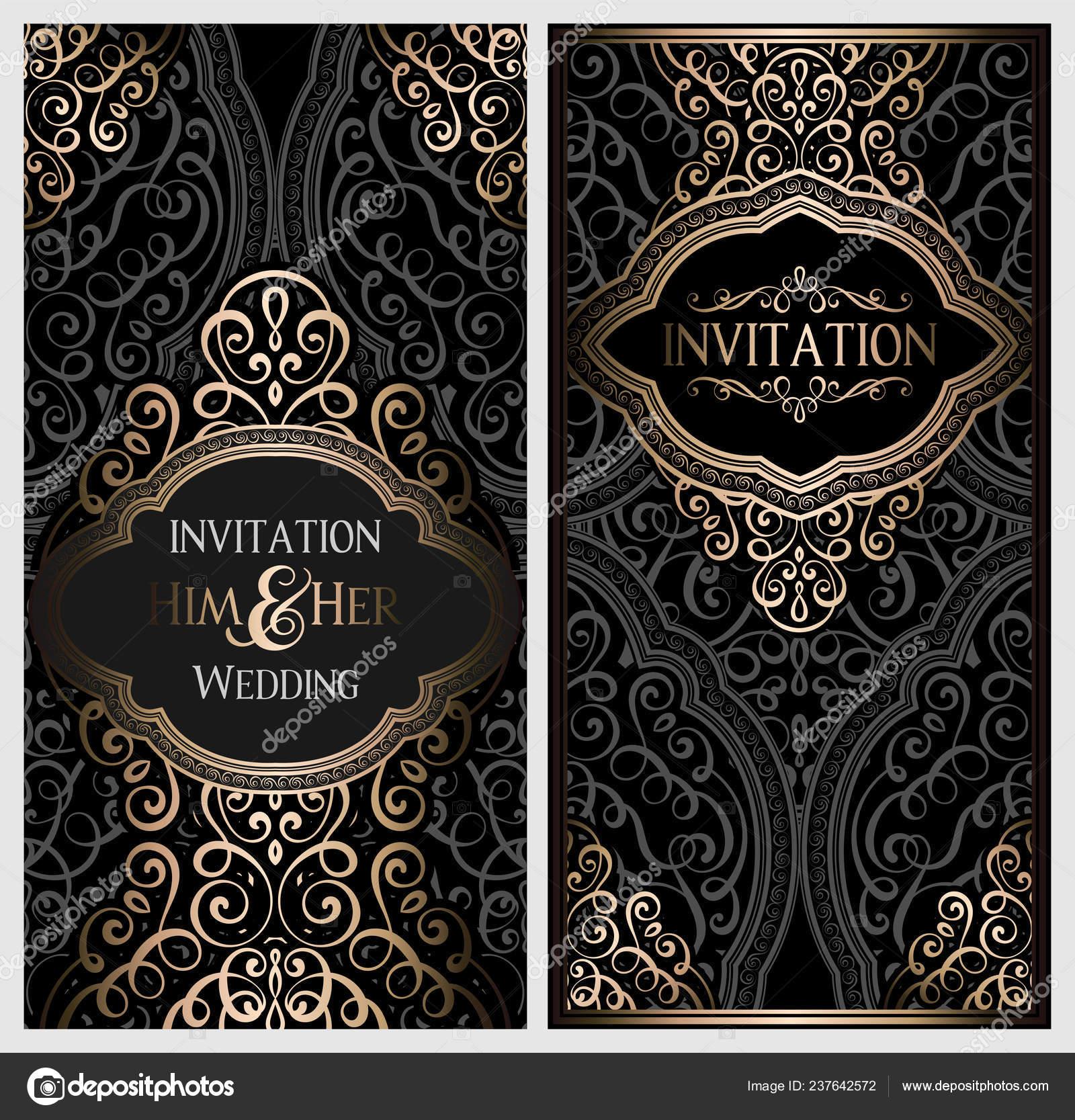 Wedding Invitation Card Black Gold Shiny Eastern Baroque