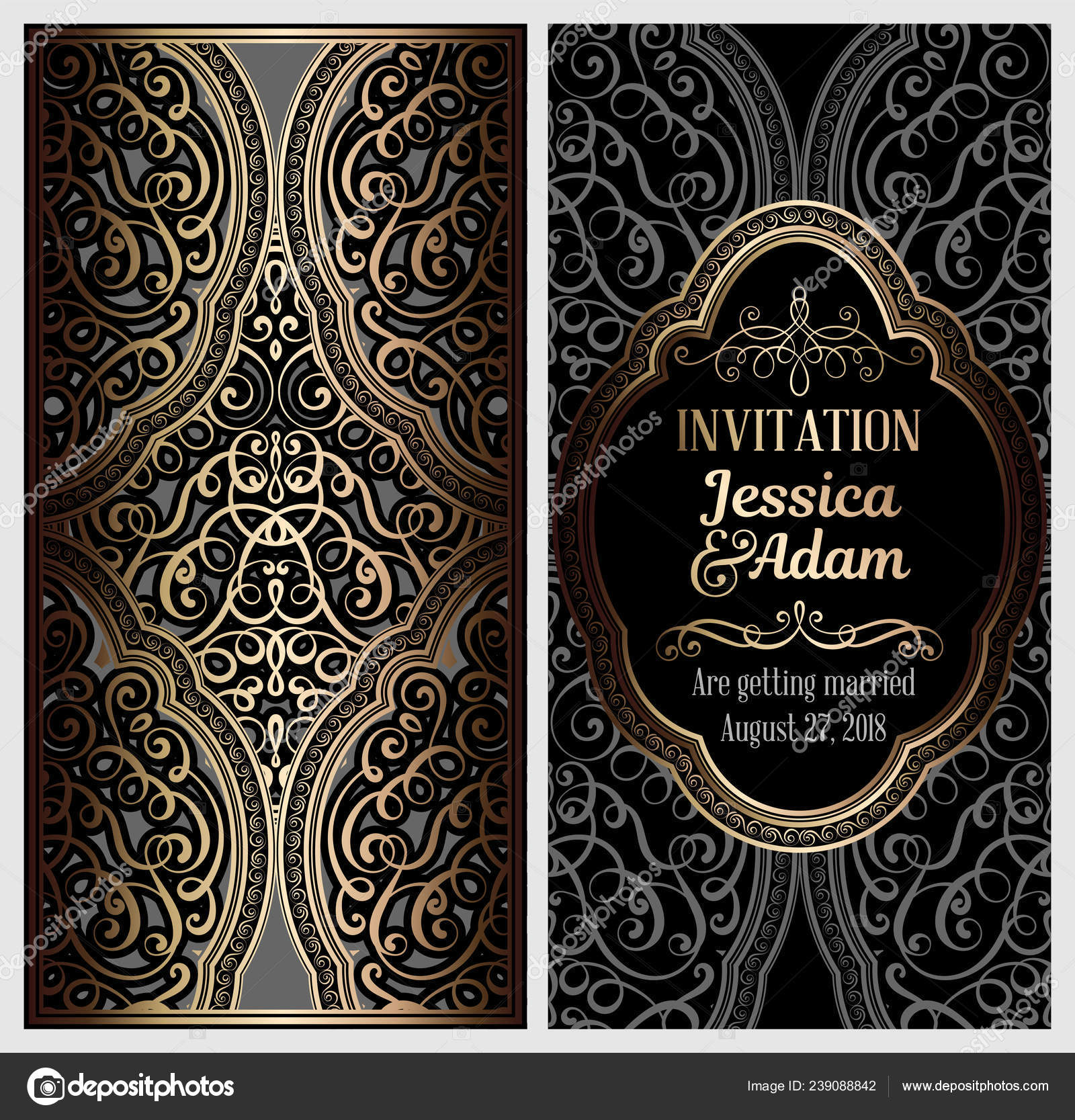 Black Gold Luxury Wedding Invitation Card Golden Shiny Eastern Baroque —  Stock Vector © MiaMilky #239088842