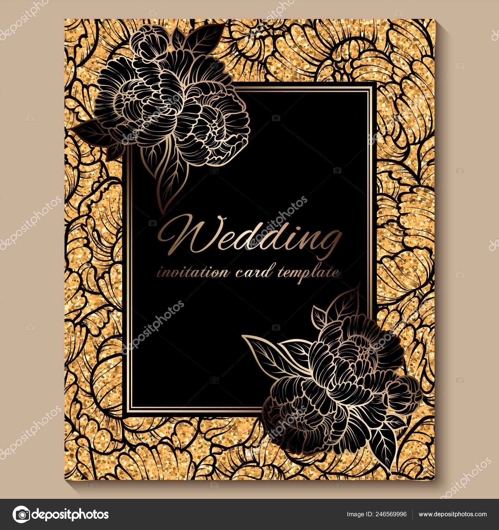 Antique Royal Luxury Wedding Invitation Card Golden Glitter Background  Frame — Stock Vector © MiaMilky #246569996