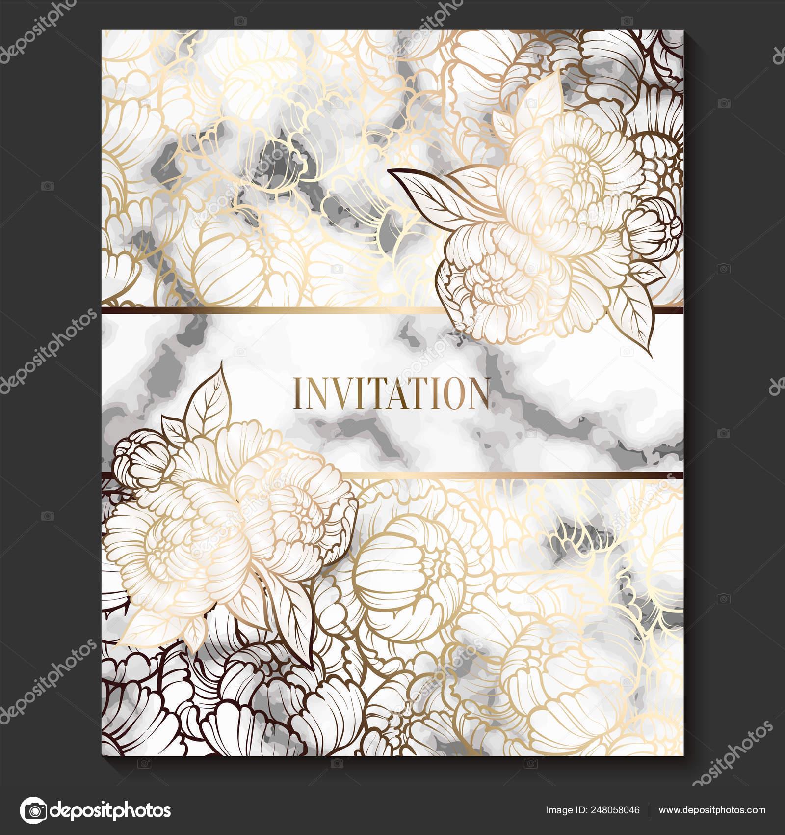 Lujo Y Tarjetas De Invitación De Boda Elegante Con Textura