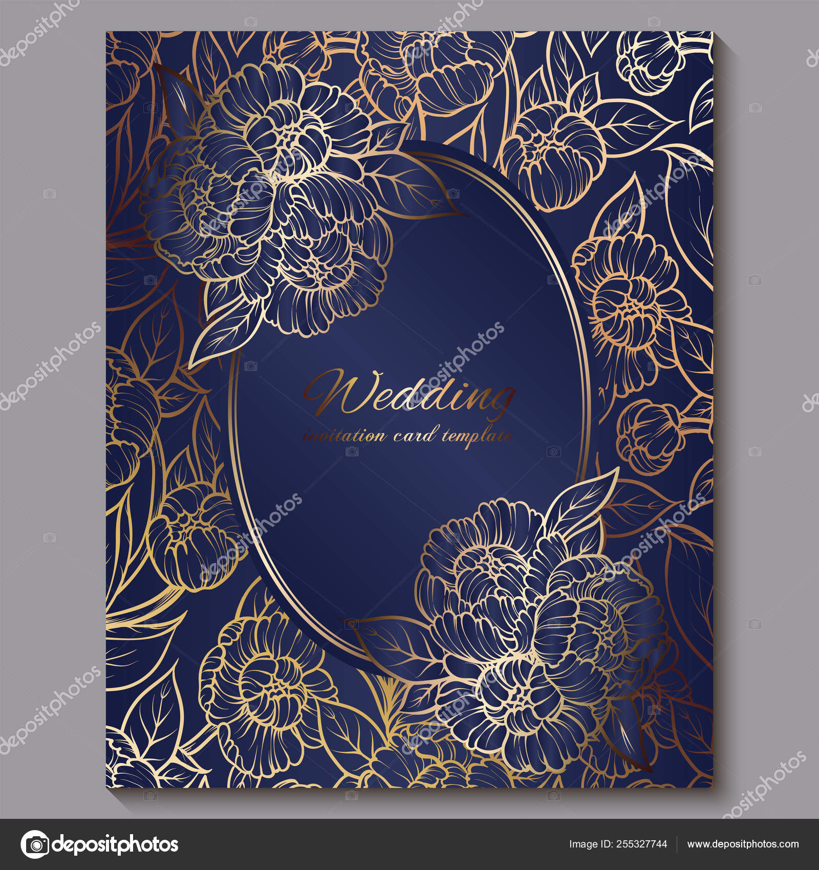 Exquisite Royal Luxury Wedding Invitation Gold On Blue