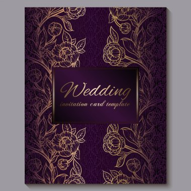Exquisite royal purple luxury wedding invitation, gold floral background with frame and place for text, lacy foliage made of roses or peonies with golden shiny gradient.
