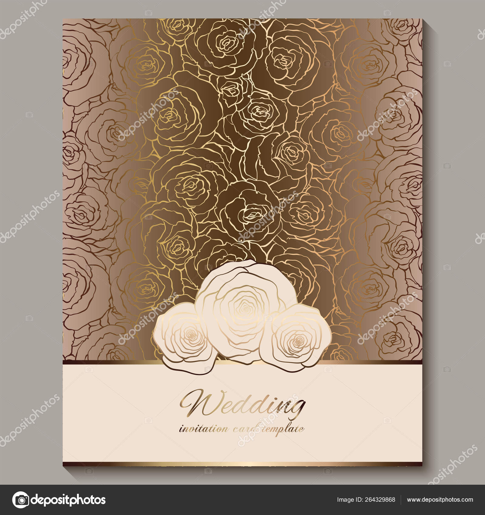 luxury gold vintage wedding invitation floral background with place for text lacy foliage made of roses with golden shiny gradient victorian wallpaper ornaments baroque style template for design stock vector c https depositphotos com 264329868 stock illustration luxury gold vintage wedding invitation html