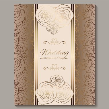 Luxury gold vintage wedding invitation, floral background with place for text, lacy foliage made of roses with golden shiny gradient. Victorian wallpaper ornaments, baroque style template for design