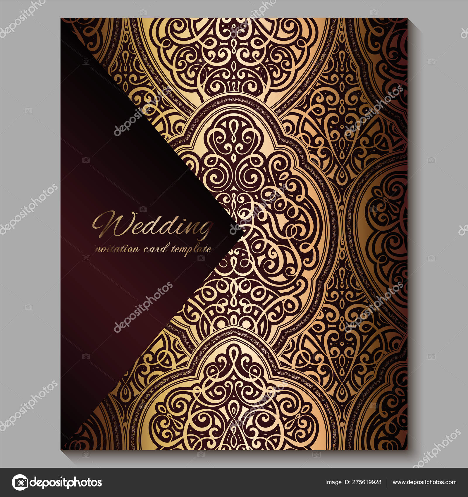 Wedding Invitation Card With Gold Shiny Eastern And Baroque Rich Foliage Royal Red Ornate Islamic Background For Your Design Islam Arabic Indian Dubai Stock Vector C Miamilky 275619928