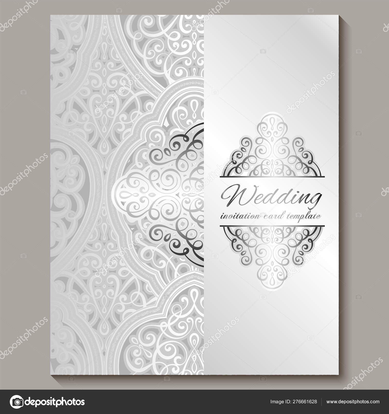 Wedding Invitation Card With Silver Shiny Eastern And