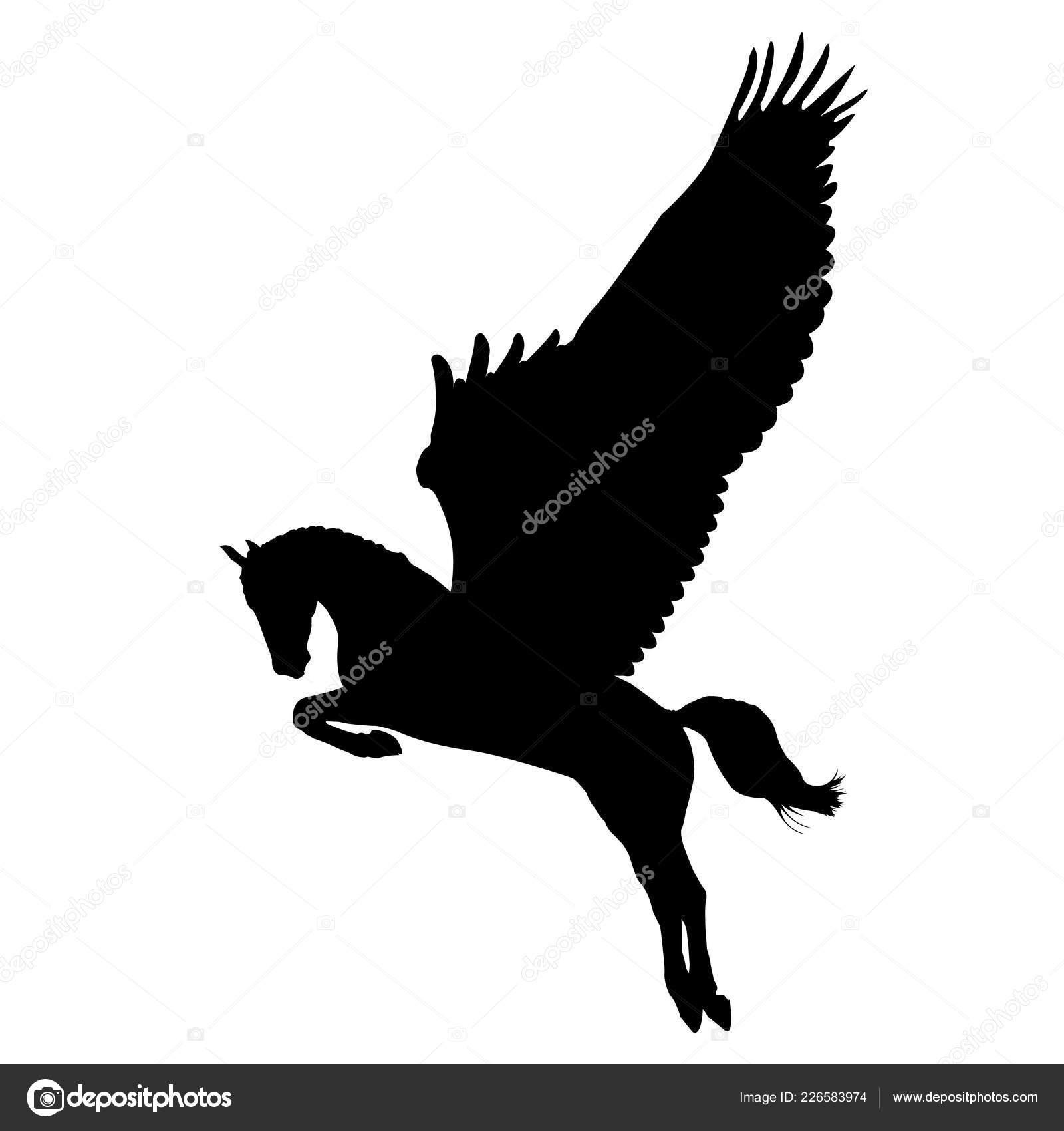 Vector Silhouette Pegasus Mythical Animal Horse Wings Black Pegasus Profile Stock Vector C Olgasalt 226583974