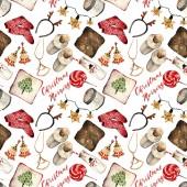 Akvarelu módní ilustrace. sada módní doplňky. Vánoční ráno. náušnice, polštáře, mléka, čelenka, candy, přívěšek, pantofle, svíčka, ponožky, vzor bezešvé, světlé pozadí
