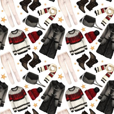 Watercolor Fashion Illustration. set of trendy accessories. Winter clothes. coat, sweater, jeans, shoes,bag, scarf, hat,seamless pattern,light background stock vector
