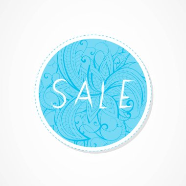 Sale inscription on decorative round backgrounds with floral pattern. Hand drawn lettering. Vector illustration.