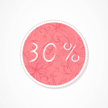 30 percent discounts inscription on decorative round backgrounds with abstract pattern. Hand drawn lettering. Vector illustration