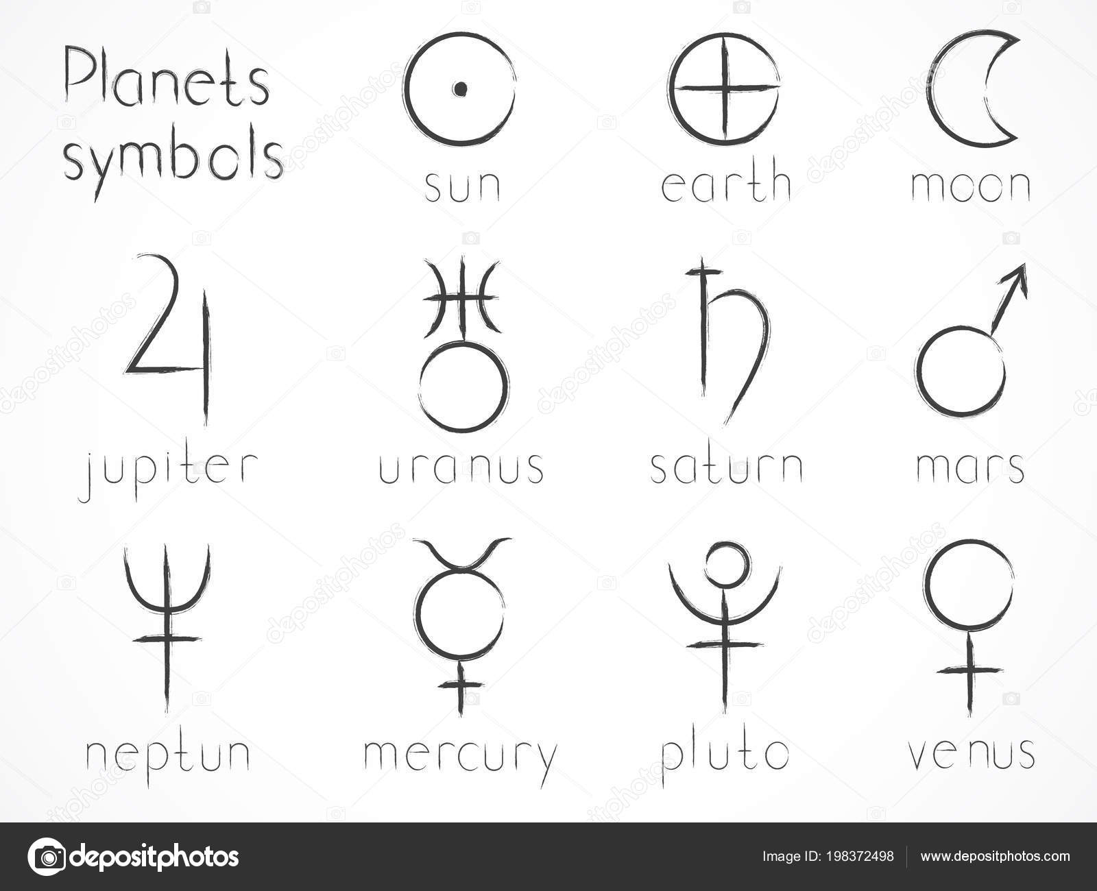 Vector Set Astrological Planets Symbols Hand Drawn Elements Signs