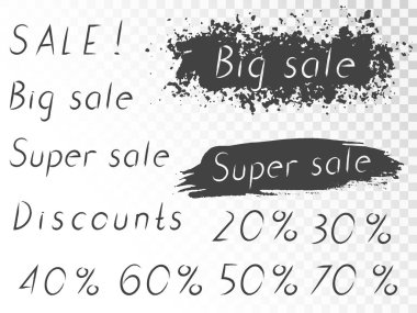 Set of vector hand drawn lettering Sale, Big sale, Super sale, Discounts, with painted elements. Vector.