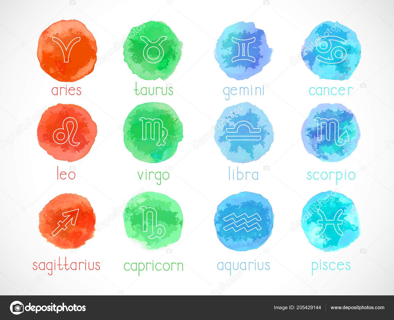Vector Set Zodiac Signs Watercolor Elements Hand Drawn Horoscope