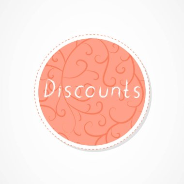 Discounts inscription on decorative round backgrounds with abstract pattern. Hand drawn lettering. Vector illustration.