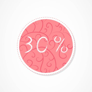 30 percent discounts inscription on decorative round backgrounds with floral pattern. Hand drawn lettering. Vector illustration.