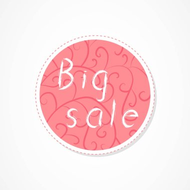 Big sale inscription on decorative round backgrounds with abstract pattern. Hand drawn lettering. Vector illustration