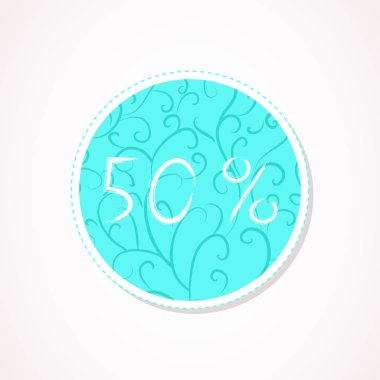 50 percent discounts inscription on decorative round backgrounds with floral pattern. Hand drawn lettering. Vector illustration.