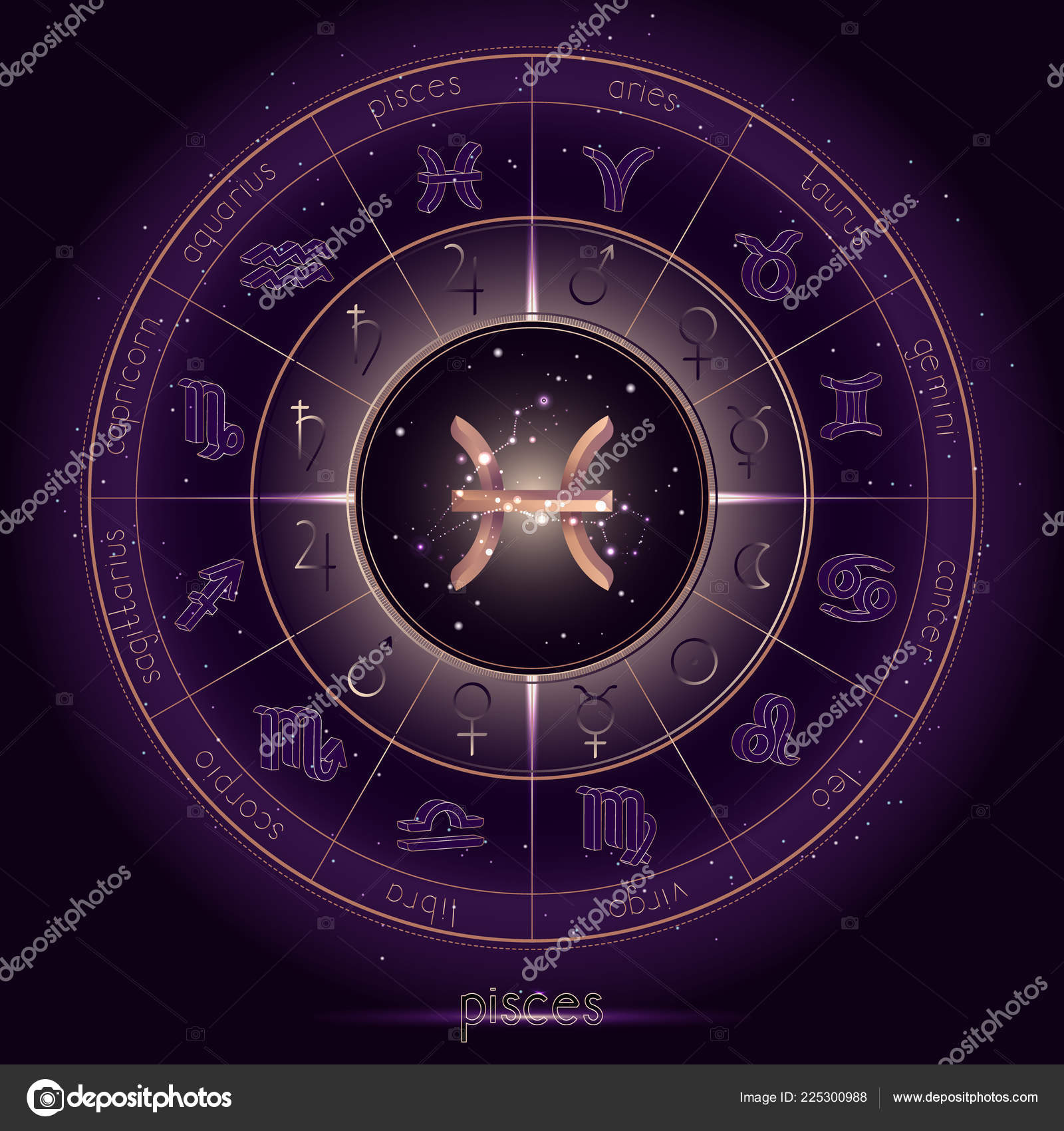 d4dd86ae4 stock illustration. Zodiac Sign Constellation Pisces Horoscope Circle  Starry Night Sky Background — Stock Vector