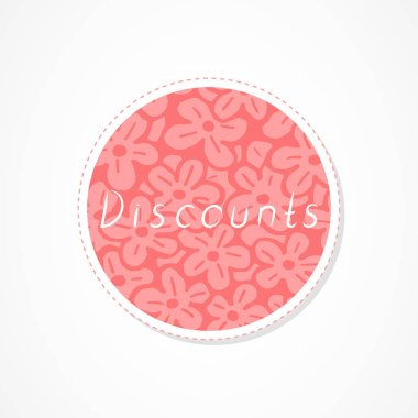 Discounts inscription on decorative round backgrounds with floral pattern. Hand drawn lettering. Vector illustration.