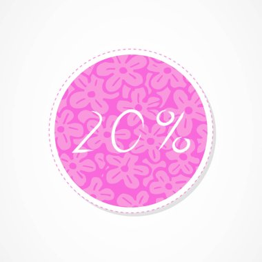 20 percent discounts inscription on decorative round backgrounds with abstract pattern. Hand drawn lettering. Vector illustration