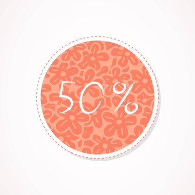 50 percent discounts inscription on decorative round backgrounds with abstract pattern. Hand drawn lettering. Vector illustration