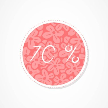 70 percent discounts inscription on decorative round backgrounds with abstract pattern. Hand drawn lettering. Vector illustration